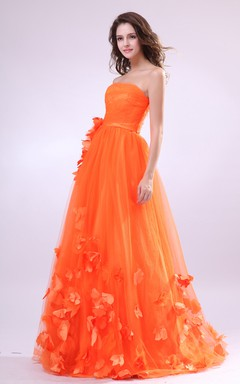 Floral Empire Strapless A-Line Dress With Soft Tulle