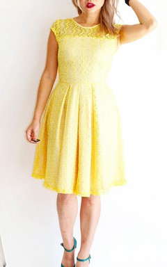 Gossamer Lemonade Lemon Yellow Lace Bridesmaid With Short Cap Sleeves Modest Vintage Inspired Cocktail With Pockets Dress
