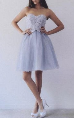A-Line Sweetheart Short Dress With Lace Top