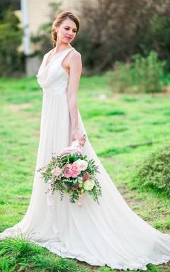 Boho Cowl Neck Sleeveless Long A-Line Chiffon Dress With Pleats