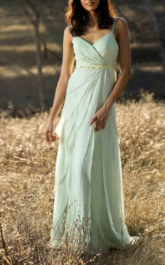 Dusty Shale Asymmetric Ruffle Bridesmaid Dress