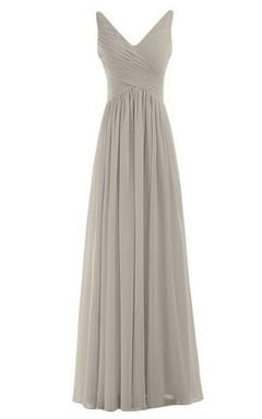 Sleeveless V-neck Chiffon Dress With Crisscross Ruching