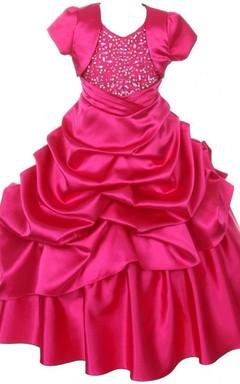 V-neck Ruffled Dress With Matching Jacket