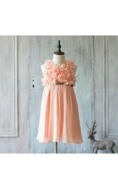 2016 Peach Empire Waist Pleated A-line Chiffon Rosette Dress With Gold Belt