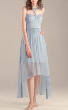 Tea-length Chiffon&Tulle Dress With Beading