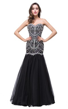 Glamorous Crystals Black Mermaid 2016 Prom Dress Sweetheart Sleeveless Zipper