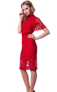 Knee-length High Neck Lace Dress With Short Sleeves