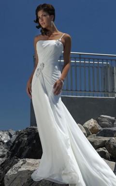 Sheath Column Empire One Shoulder Chiffon Beach Wedding Dress