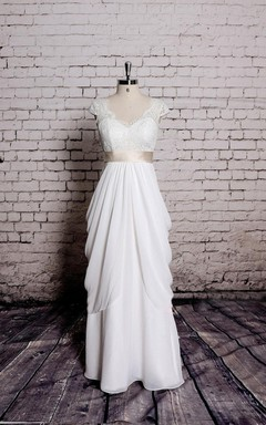 Special Design Lace Cap Sleeve Chiffon Skirt With Champagne Sash
