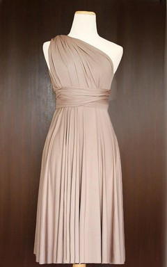 Short Light Taupe Infinity Multiway Bridesmaid Convertible Twist Wrap Dress