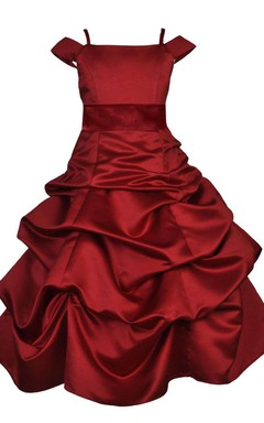 Off-shoulder A-line Taffeta Dress With Ruffles