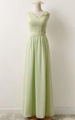 Short Floor-length V-neck Chiffon Dress