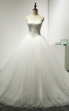 Sweetheart Tulle Puffy Ball Gown With Lace Corset Top