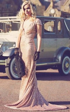 Rose Gold Paillettes Old Hollywood Dress