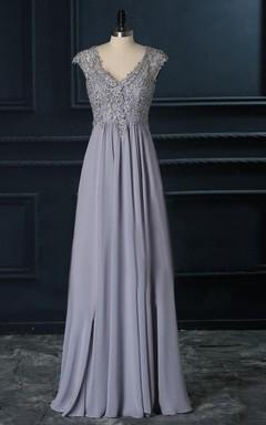 V-neck Chiffon&Lace Stunning New Arrival Dress