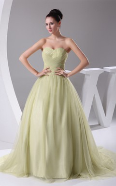 Sweetheart Tulle A-Line Ball Gown with Ruching and Pleats