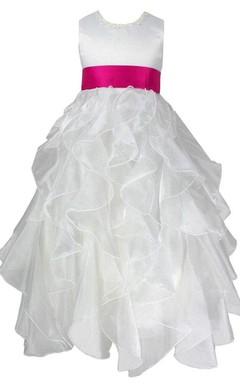 Sleeveless Ruffled Dress With Bow and Beadings