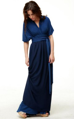 Navy Blue Bridesmaid Infinity Floor Length Wrap With Chiffon Convertible Dress