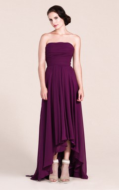 Strapless A-line High-low Long Dress With Ruchings