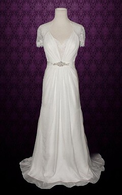 V_Neck Short-Sleeve A-Line Chiffon Dress With Beaded Sash And Ruching Detailing