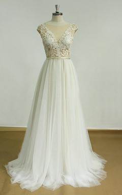 Deep V Cut Open Back Tulle Lace Wedding With Champagne Tulle Dress