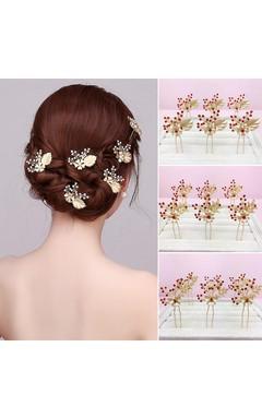 Bridesmaid Bride Headdress Hair Ornaments Gold Hairpin Pin Earrings Red Dress Cheongsam Accessories