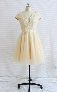 Short V-neck Cap Sleeve Chiffon Dress With Beading
