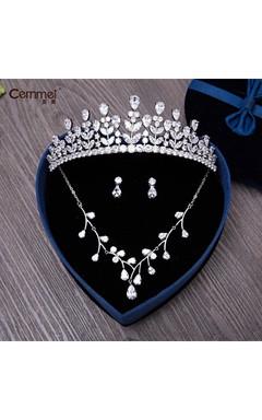 Zircon Crown Necklace Earrings Earrings Children Birthday Party Princess Princess Bride Married