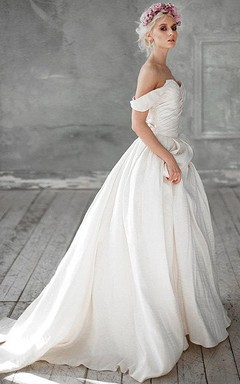 Off-Shoulder A-Line Taffeta Wedding Dress With Ruching and Beading