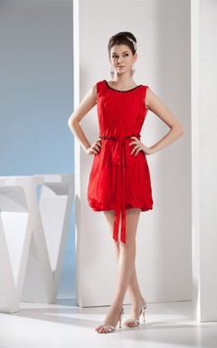 Sleeveless Ruched Mini Dress with Ribbon and Beading