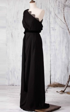Floor-length One-shoulder Chiffon&Lace Dress With Draping