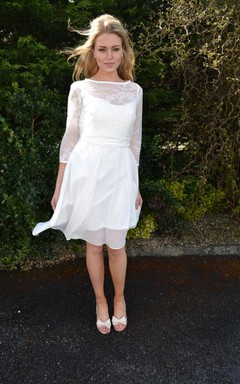 Short Long Sleeve Chiffon Lace Dress With Bow Keyhole Back