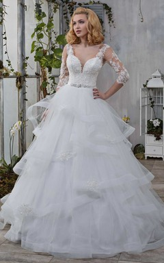 Illusion Long Sleeve Tulle Ball Gown Ruffled Wedding Dress With Appliques And Jewel Waist