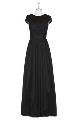 Short Sleeve Long A-Line Chiffon Dress With Lace Bodice and Side Draping