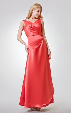 Square Neckline Keyhole in Back Trumpet Chiffon Dress