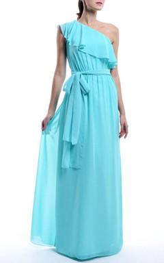 A-line Maxi One-shoulder Chiffon Dress