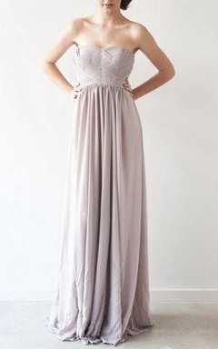 Strapless Floor-Length Dress With Zipper Back