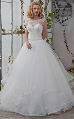Bateau Cap-Sleeve Tulle Ball Gown Ruffled Wedding Dress With Beading And Lace