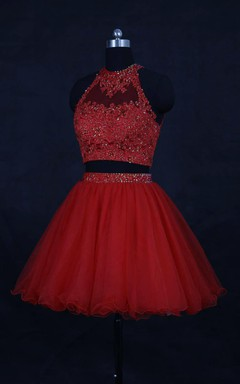 Mini High-neck Organza Dress With Beading