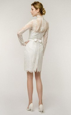 Short Mini Long Sleeve Tulle Lace Wedding Dress