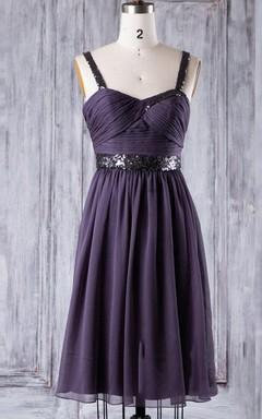 A-line Short Knee-length Sweetheart Chiffon Dress With Pleats&Sequins