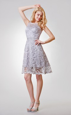 Scoop Neckline Short A-line Lace Dress With Illusion Back
