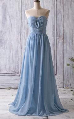 Long Strapped Sweetheart Chiffon Dress