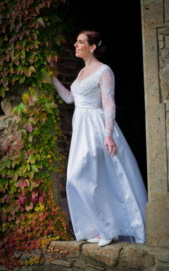 V-Neck Long Lace Sleeve A-Line Taffeta Wedding Dress
