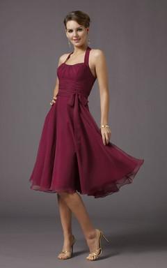 Halter Style Chiffon Short Dresses