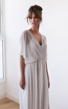 Empire Bat Sleeve Empire Chiffon Wedding Dress