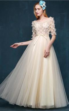 Floor-length Bell Illusion Tulle Satin Pleats Bow Dress