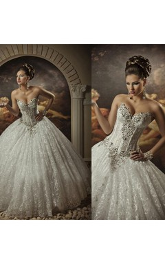 Sweetheart Lace Strapless Arabic Wedding Dresses Ball Gown Sleeveless Beaded Bridal Gowns With Sequins Crystals