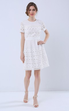 Short Sleeve Jewel Neck A-Line Dress