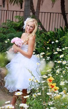 Sweetheart Short Chiffon Wedding Dress With Criss Cross And Ruffles